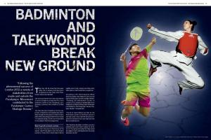 Preview of a magazine Paralympian pages 12 and 13 with a story: Tokyo 2020 sports decision, Badminton and Taekwondo break new ground with a picture of badminton and taekwondo athletes.