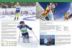 Preview of a magazine Paralympian pages 18 and 19 with a stories: IPC Nordic Skiing world championships, IPC Alpine Skiing World Cup and Australian Open.