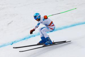 Markus Salcher goes down the slope very fast, he seems to lose control
