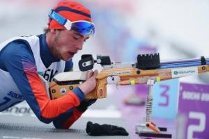 Athlete practicing biathlon.