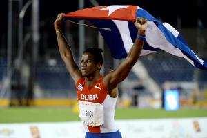 Leinier Savon Pineda of Cuba celebrating after the Men's 200M T12 in Toronto at the 2015 Parapan American Games.