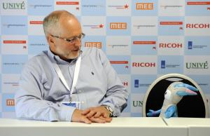 Sir Philip Craven chats with Mandeville at the 2010 IPC Swimming World Championships in Eindhoven, The Netherlands