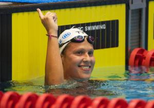 Elodie Lorandi celebrates victory in Berlin