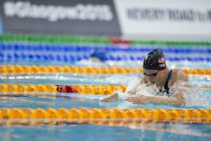 Jessica Long of the USA competes in the Women's 100m Breaststroke SB7 at the 2015 IPC Swimming World Championships in Glasgow, Great Britain.