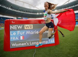 Marie-Amelie le Fur FRA sets a new world record to become the Gold Medal winner in the Women's Long Jump