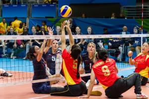 Sitting volleyball sports icon horizontal