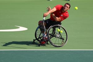 Wheelchair tennis sports icon horizontal