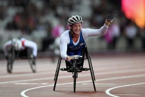 The USA's Tatyana McFadden takes victory at the World Para Athletics Championships London 2017.