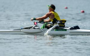 Erik Horrie of Australia competes in the AS Men's Single Scu. - ASM1x Final A at the Rio 2016 Paralympic Games.