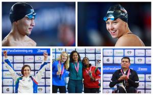 five Para swimmers celebrate their wins in and out of the pool