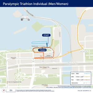 a map of the triathlon course at the Tokyo 2020 Paralympics