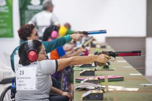 Brazilian female competing in a pistol event