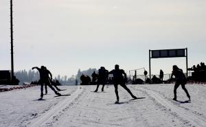 A group of cross-country skiers competing