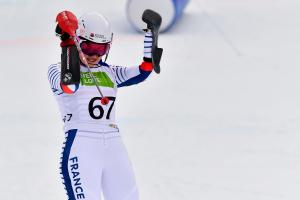 Skier celebrates