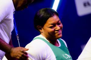 Nigerian powerlifter Folashade Oluwafemiayo smiles