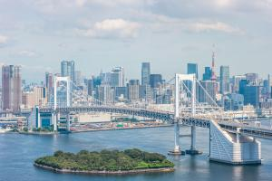 a view of the Tokyo skyline and the city's Rainbow Bridge